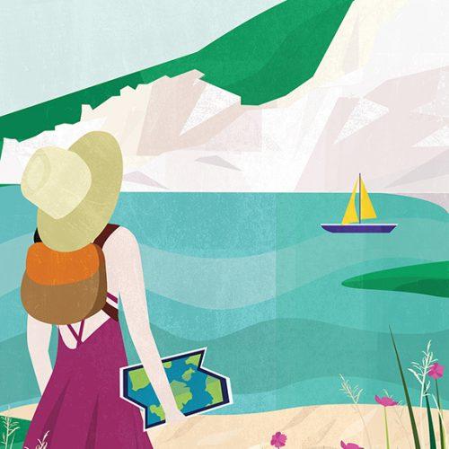 seaside walk illustration